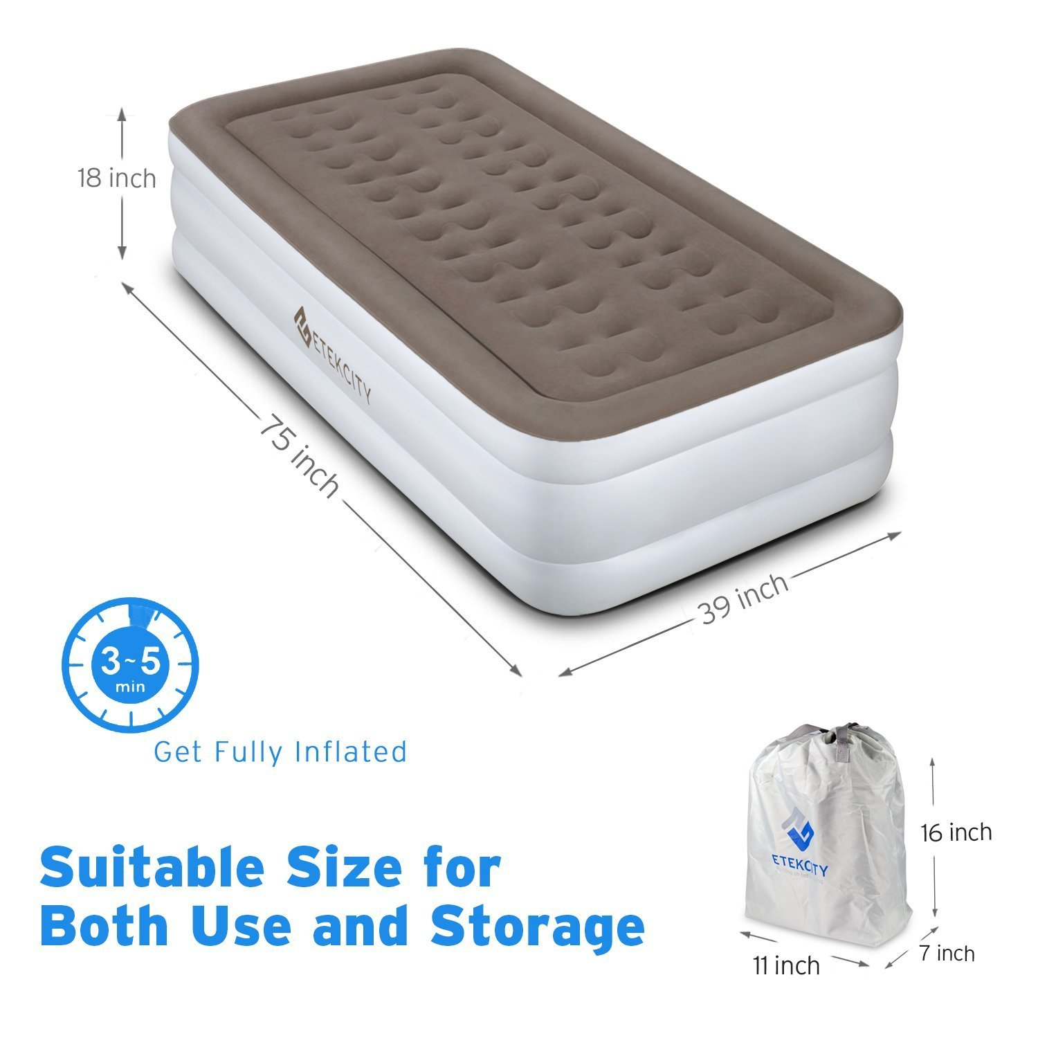Etekcity 2 Pack Upgraded Air Mattress Blow Up Raised Airbed with Built-in High Capacity Pump, Height 18'', Twin Size by Etekcity (Image #2)