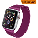 HILIMNY Strap Compatible with apple watch 38MM 40MM, Milanese sport Loop, Stainless Steel Mesh Band, Compatible with iWatch Series 4, Series 3 Series 2 Series 1 (38MM 40MM, Purple)