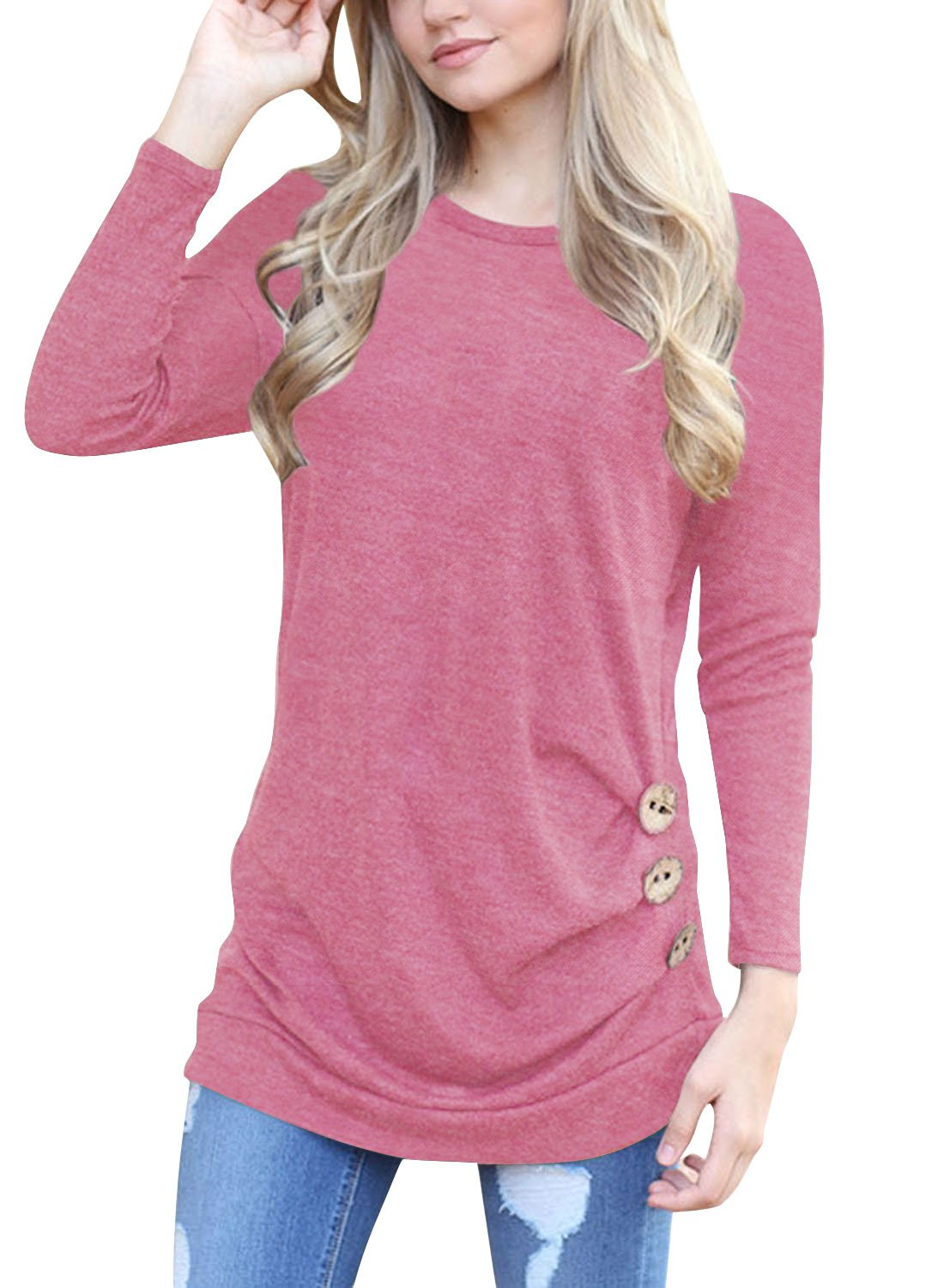 Juniors Tops Casual Long Sleeve T Shirts Buttons Decor Crew Neck Tunic Blouse Pink Large