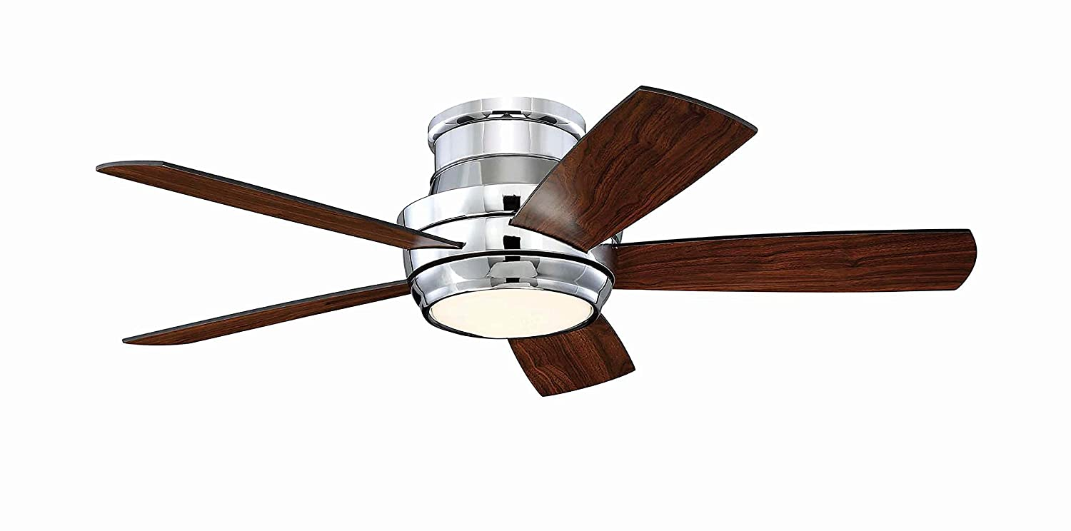 Craftmade Flush Mount Ceiling Fan with LED Light and Remote ...