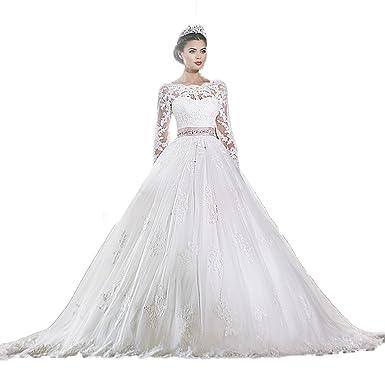 Aoturui Luxus Spitze Langer Ärmel Hochzeitskleid Brautkleider ...