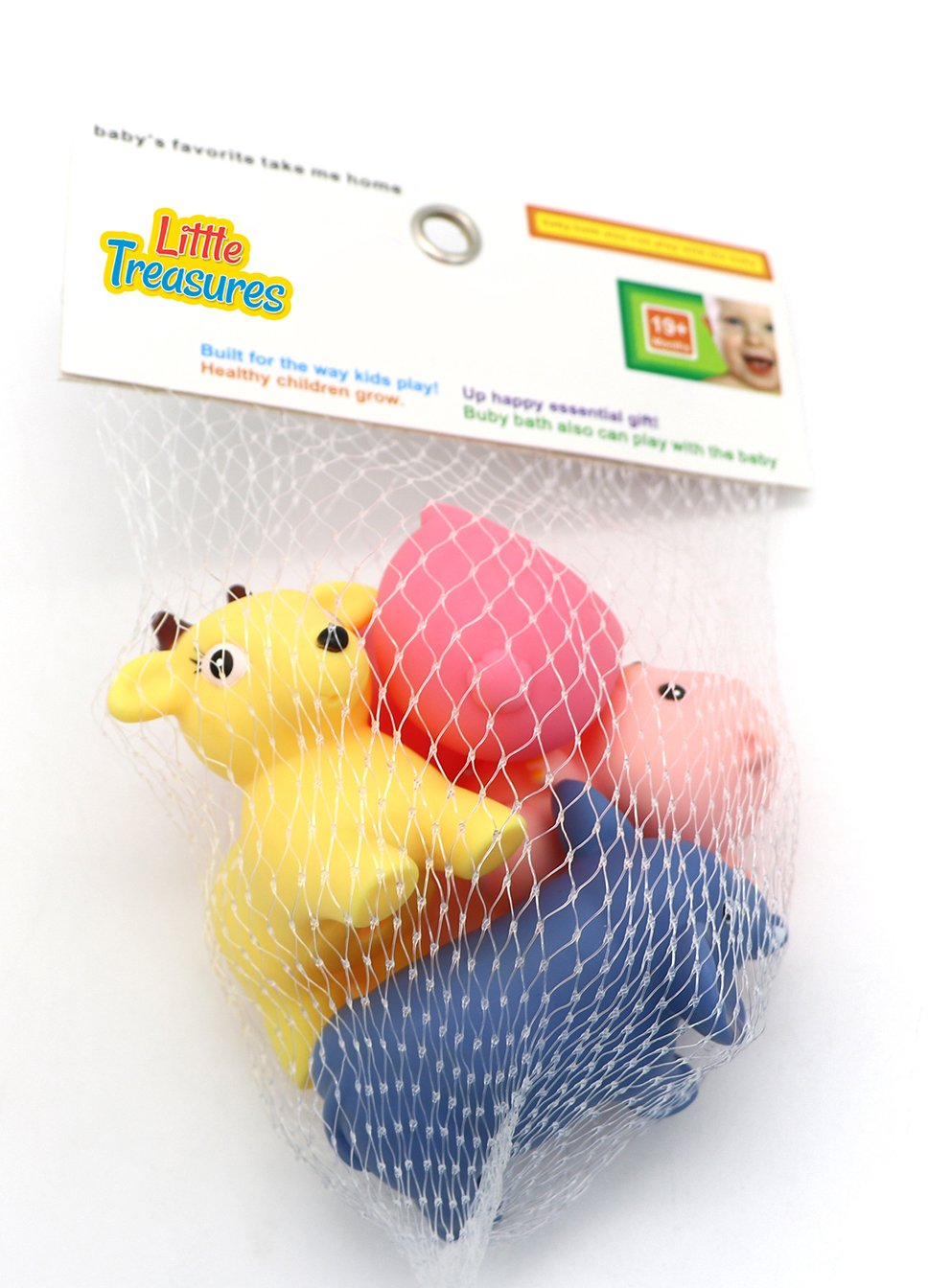 Little Treasures B01BYSMQ6C Bath toys for babys toddlers and infants 19 months have fun bathing with net storage bag and 4 different animal squirts