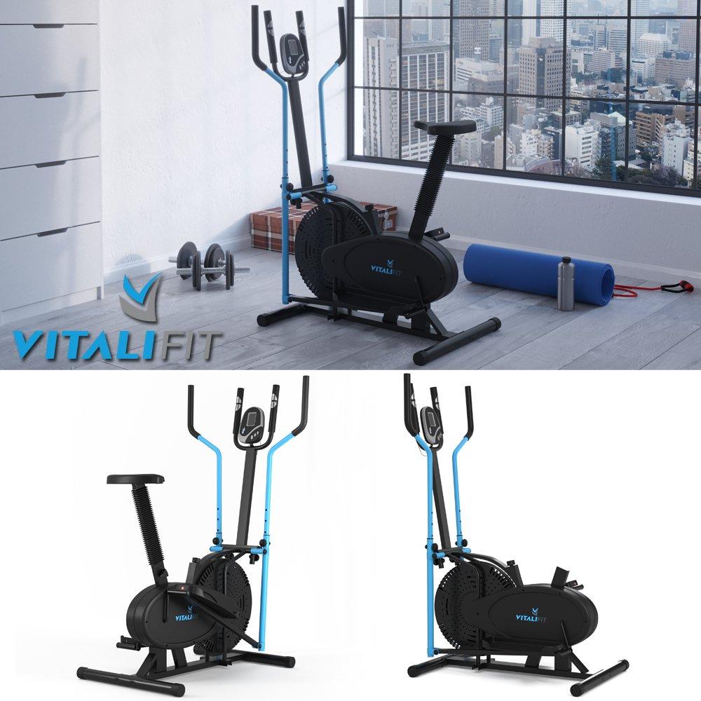 Vitalifit - Bicicleta elíptica con pulsómetro, negro: Amazon.es: Deportes y aire libre
