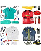 TopTie 4 Sets Kids' Role Play Costume Doctor Surgeon Police Officer Fire Chief