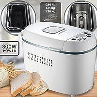 Machine à pain – 12 programmes, 800 W, 3 niveaux de dorure, sans gluten, capacité jusqu'à 1,36 kg, avec doseur, blanche – Bread Maker, pétrisseur de pain