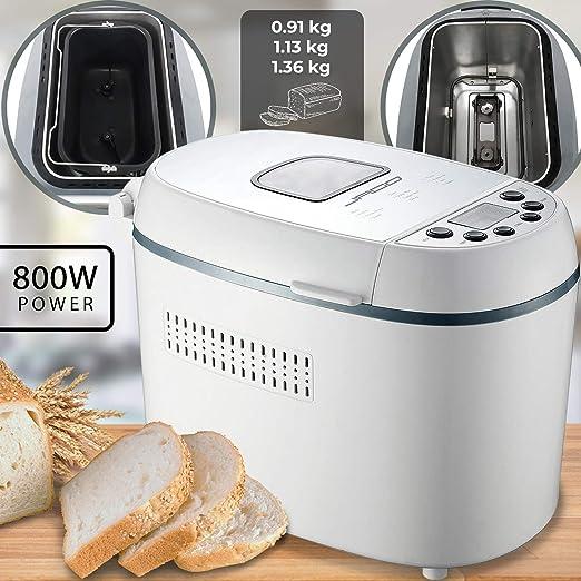 Máquina de pan - 12 programas, 800 W, 3 niveles de tostado, sin ...