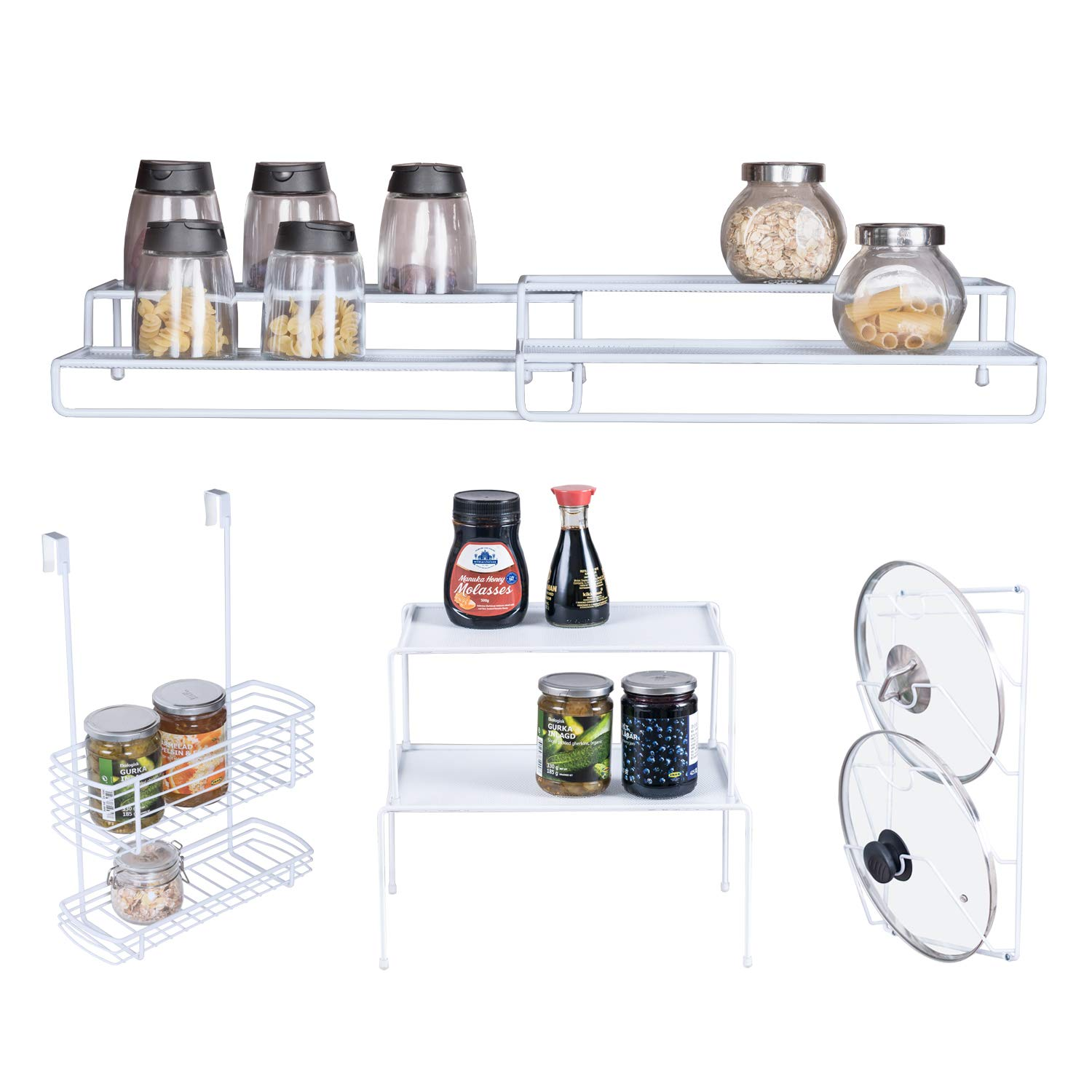 A great way to maximize space in a kitchen cabinet!