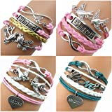 Ac Union Handmade Sister Love Heart Brids Mom Arrow Charms Friendship Gift Braid Personalized Suede Twinkle Fashion Leather Bracelet for Girl