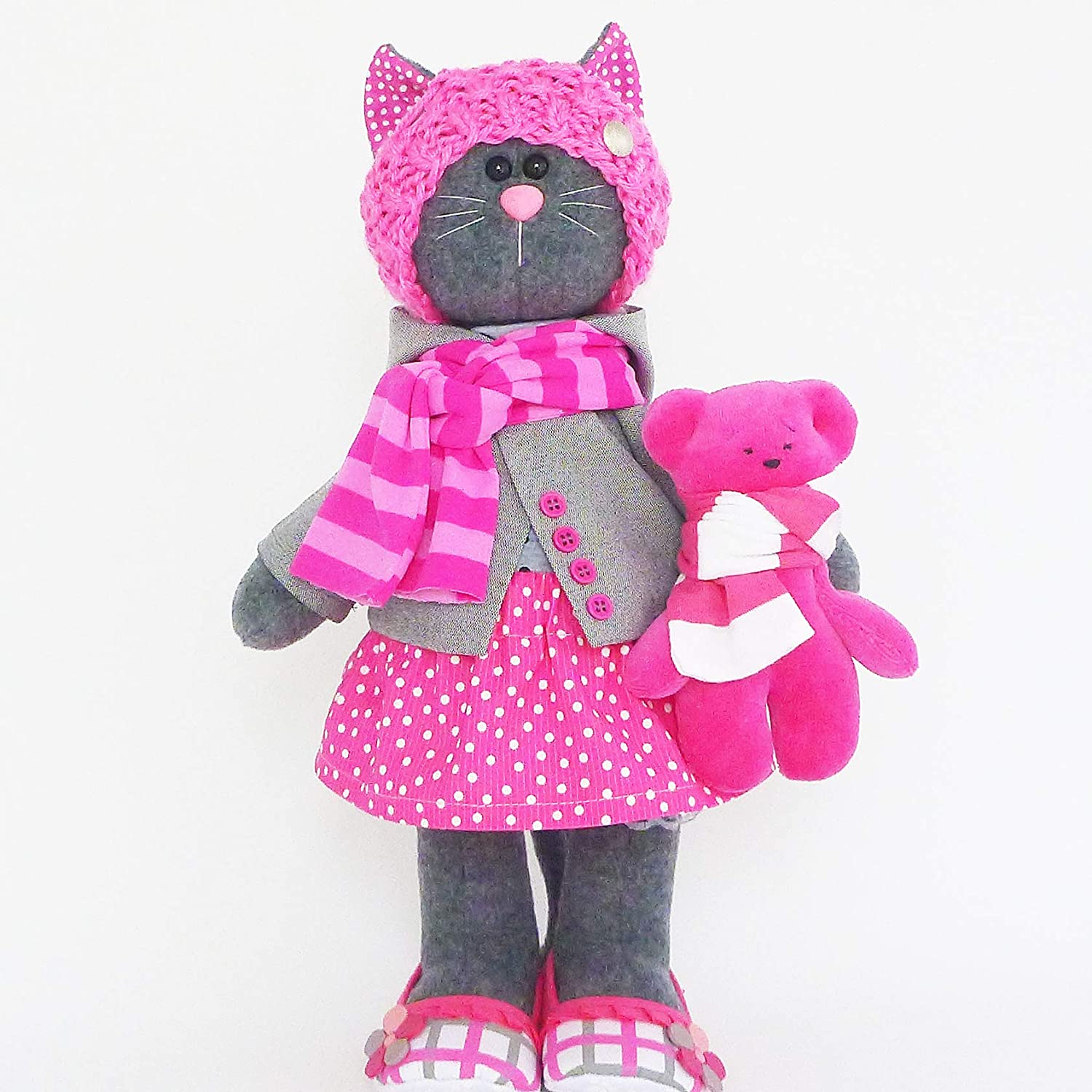 Stuffed cat doll 14 inch for girl, Stuffed small bear, Handmade by ZuzuHappyToys