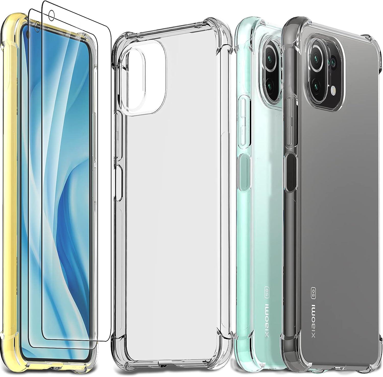 Ferilinso Funda para Xiaomi Mi 11 Lite 4G&5G + 2 Piezas Cristal Templado Protector de Pantalla [Transparente TPU Carcasa] [10X Anti-Amarilleo] [Anti-Choque] [Anti-arañazos] [9H Dureza]