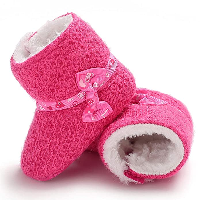 Amazon.com | Grover Aldridge Baby Girl Soft Booties Bow Snow Boots Infant Toddler Warm Shoes Khaki | Boots