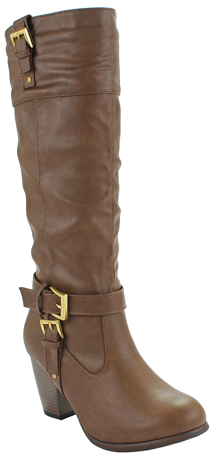 Women's Camel Knee High Buckle Strap Chunky Stacked Heel Faux Leather Boots