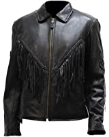 Ladies Naked Cowhide Biker Jacket Zip Out Lining Side laces Fringes