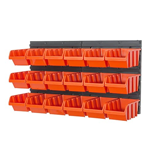 Set Of 42 M Size In Box Storage Bins And Wall Mounted