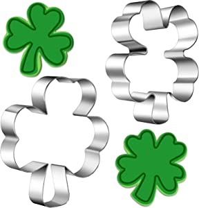 2 Pieces St. Patrick's Day Cookie Cutter Shamrock and Clover Biscuit Cutter Stainless Steel Clover Cookie Mold Irish Shamrock Cookie Molds for Fondant Irish Saint Patrick's Day Party Supplies, 2 Sizes