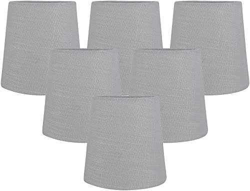 Meriville Set of 5 Gray Linen Clip On Chandelier Lamp Shades, 4-inch by 5-inch by 5-inch Grey, Set of 6