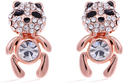 Cute kids childrens teddy bear stud earrings gold quality jewellery UK seller
