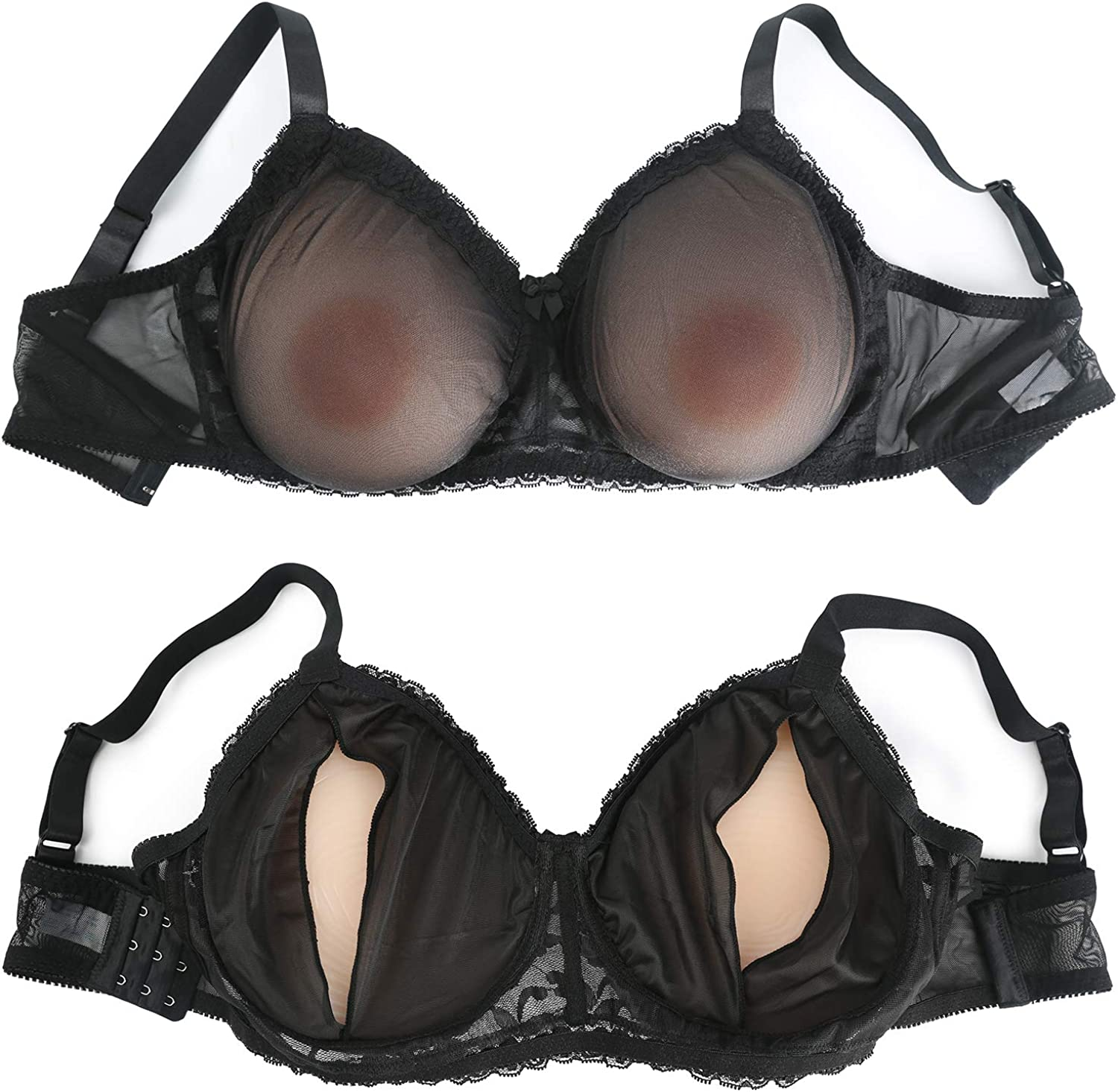 Vollence See-Through Pocket Bra for Silicone Breast Forms Fake Boobs Mastectomy