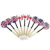 punta de acero dardos con vuelo Banderas nacionales latón barriles Dart Tips Set, 9pcs