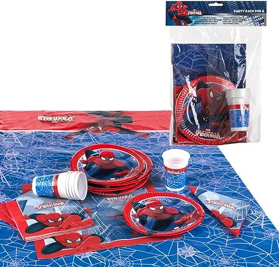 Disney - Pack de fiesta reciclable Spiderman - mantel + platos + ...