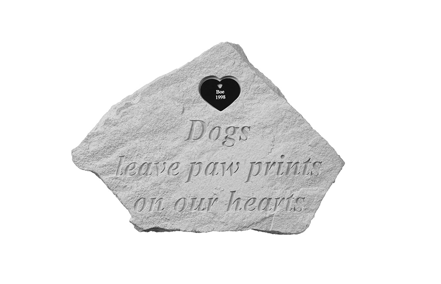 Dogs leave paw prints...w heart tag Personalized Memorial Stone