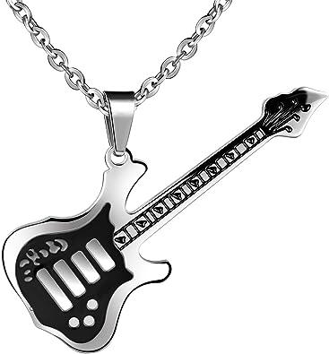 feilok Acero Inoxidable Colgante Fashion Negra guitarra Guitarra ...