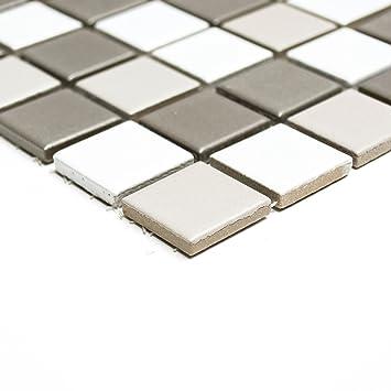 Mosaik Fliesen Keramikmosaik Mix Matt Weiß/grau/anthrazit Matt (1 Matte)