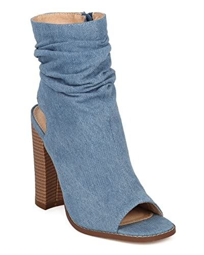 Women Slouchy Block Heel Bootie - Peep Toe Denim Chunky Heel Boot - Trendy Dressy Versatile Girls Night Ankle Boot - HC81 by Liliana Collection