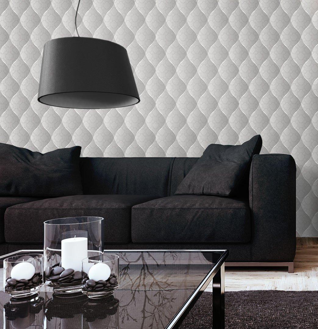 Tapete Edel Vinyl In Grau , Schönes Floral Design Und Purer Luxus Effekt ,  Moderne 3D