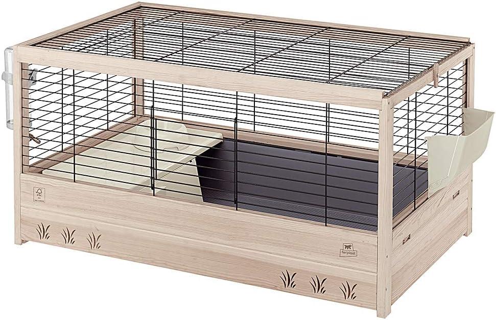 Ferplast Cage en bois FSC pour lapins ARENA 100, pour cochons d'inde, accessoires inclus