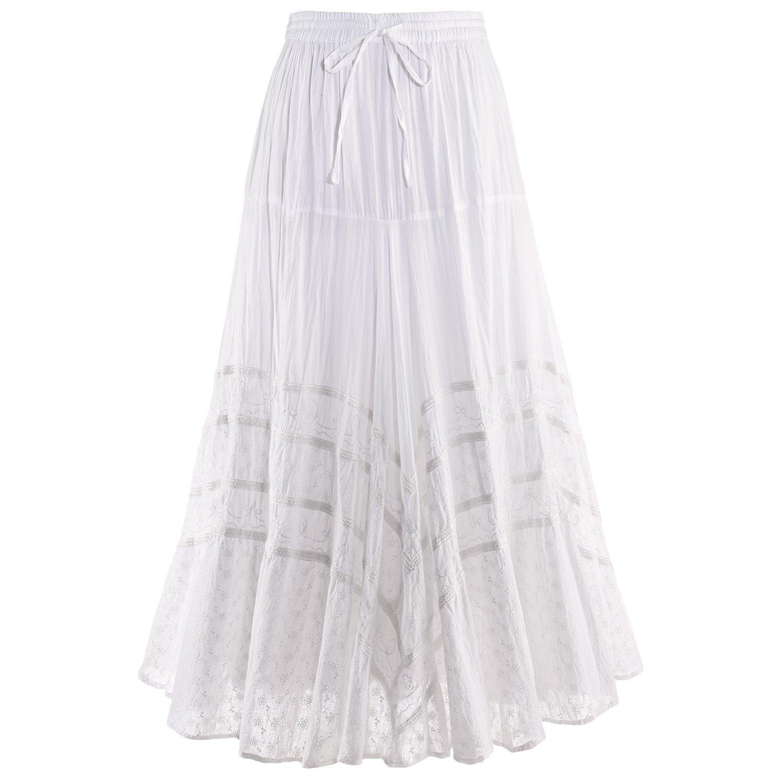 CATALOG CLASSICS Women's Embroidered Full Circle Maxi Skirt - White Tone-on-Tone - Medium