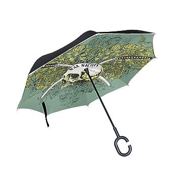 MALPLENA - Paraguas con diseño de Calavera Katana para Mujer, Hombre, Impermeable, Resistente