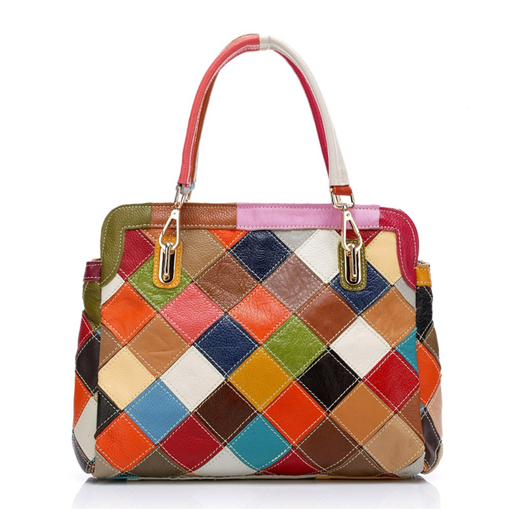 ONEWORLD New Fashion Genuine Cowhide Full Grain Leather Handbag Trapeze Wing Plaid Women Top-Handle Bag Multi