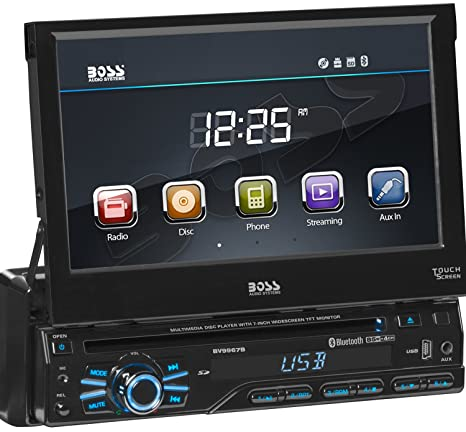Boss Audio Systems BV9967B Single Din, Touchscreen, Bluetooth, DVD CD MP3  USB SD AM FM Car Stereo, 7 Inch Digital LCD Monitor, Detachable Front  Panel,