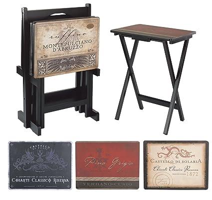 Amazoncom Cape Craftsman Tv Tray Set With Stand Tuscan Wine Set