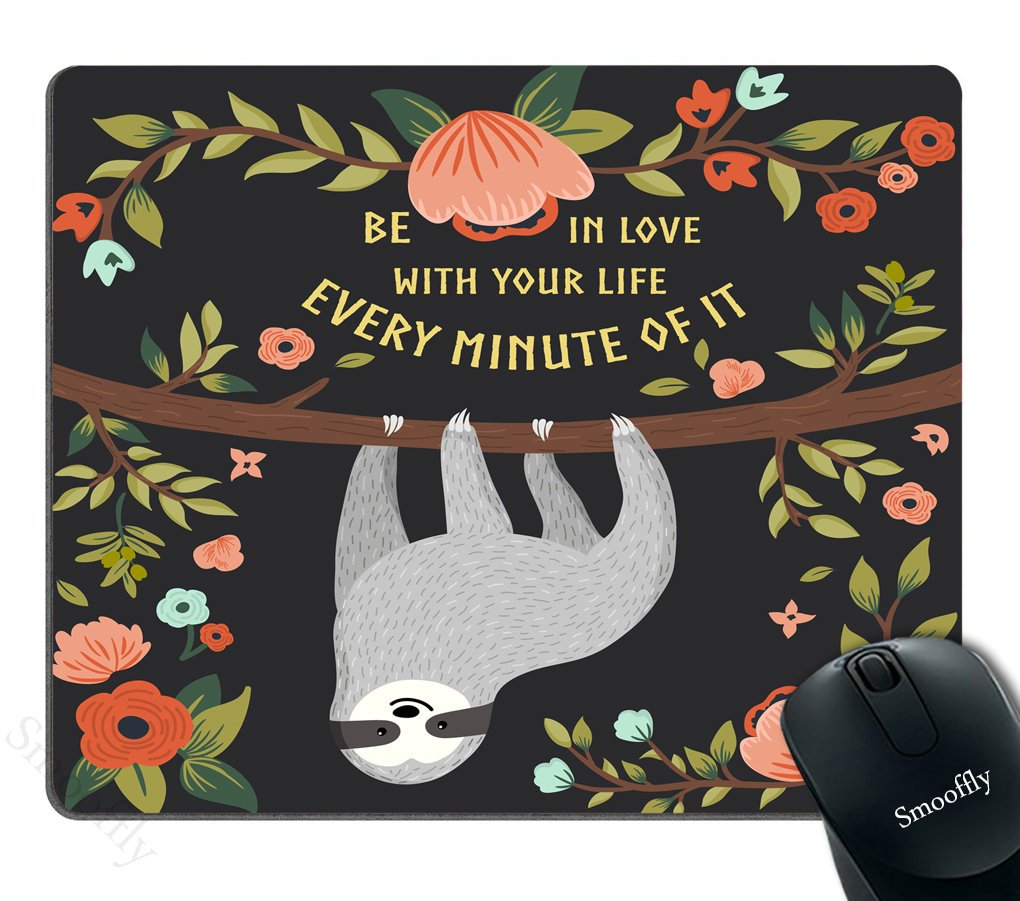Smooffly Adorable Animal Gaming Mouse pad Custom,Funny Sloth On Tree Personality Desings Gaming Mouse Pad