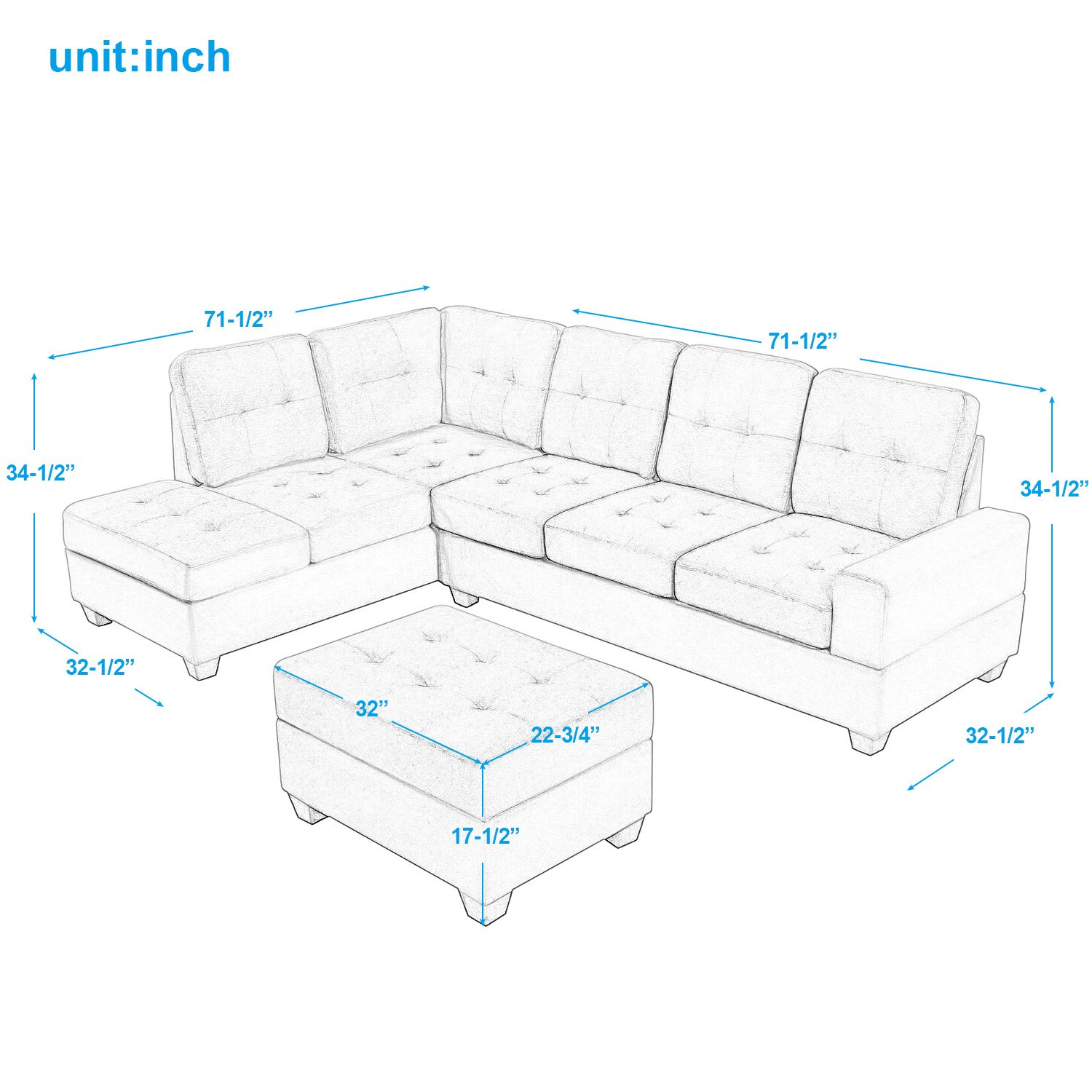 Harper & Bright Designs 3 Piece Sectional Sofa Microfiber with Reversible Chaise Lounge Storage Ottoman and Cup Holders (Brown) by Harper & Bright Designs (Image #8)
