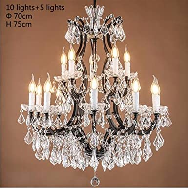 Crystal Chandelier With Large White Shade H15