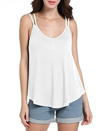 5ed8236636ff43 BESIPU White Tank Tops for Women Sexy Loose Flowy V Neck Sleeveless Cami  Shirts Small White