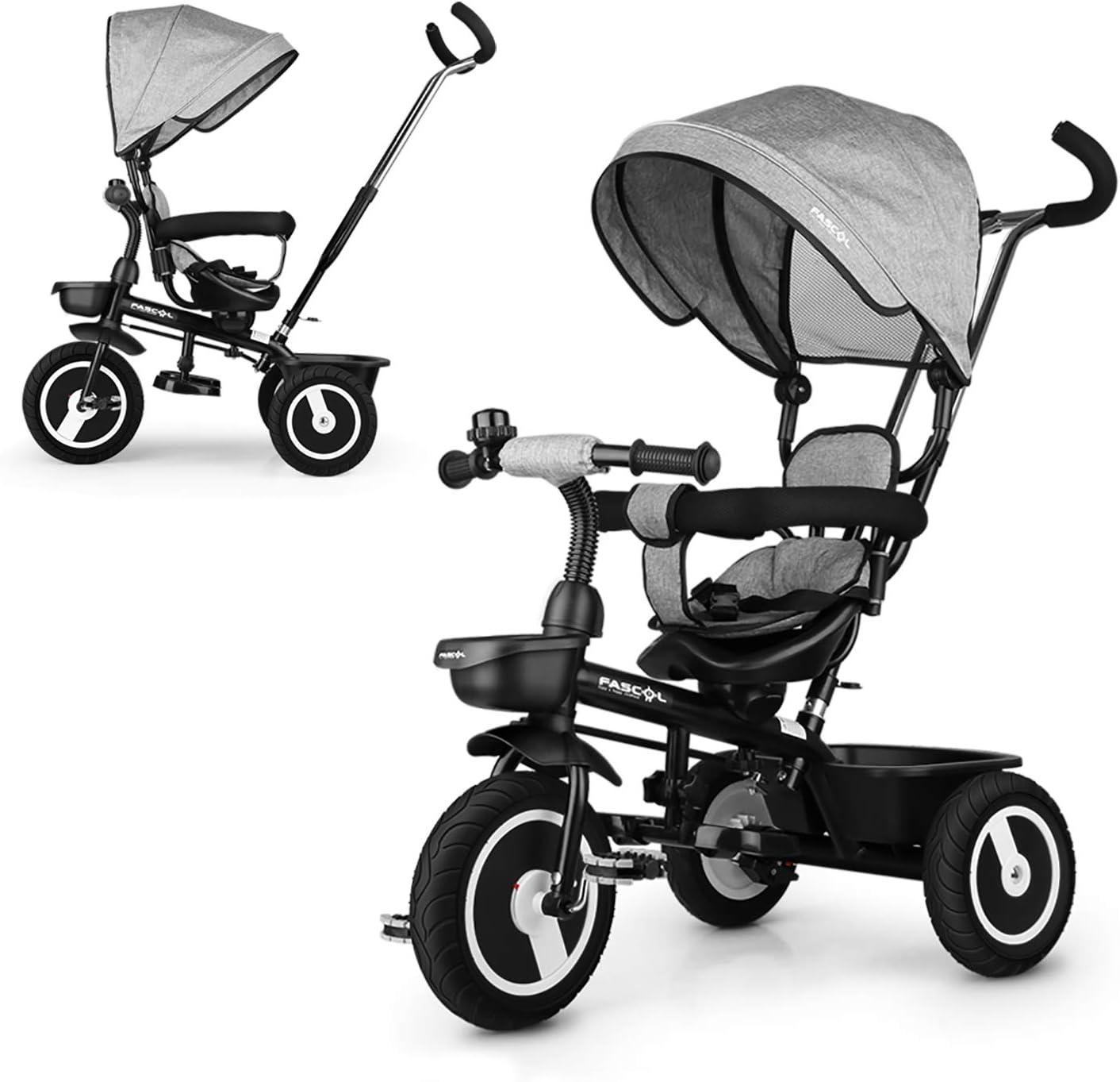 Triciclos Bebes, Fascol 7 en 1 Triciclo Evolutivo con Ruedas de Gomas para Bebe de 12 Meses a 5 Años,Gris