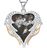 Mevecco Women Heart Of the Ocean Heart Pendant Necklace Made with Swarovski Crystals Jewelry