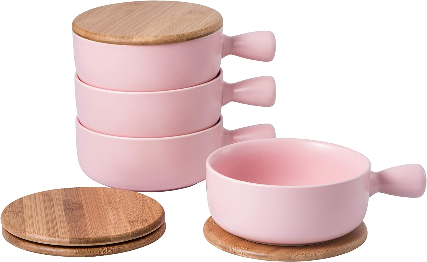 Set 4 of 22 Ounces (OZ) French onion with BAMBOO lids for soup crocks oven safe, Porcelain bowl for full capacity cereal, chili pot, stew cheese, Tortilla soup bowl and stew pot (pink)