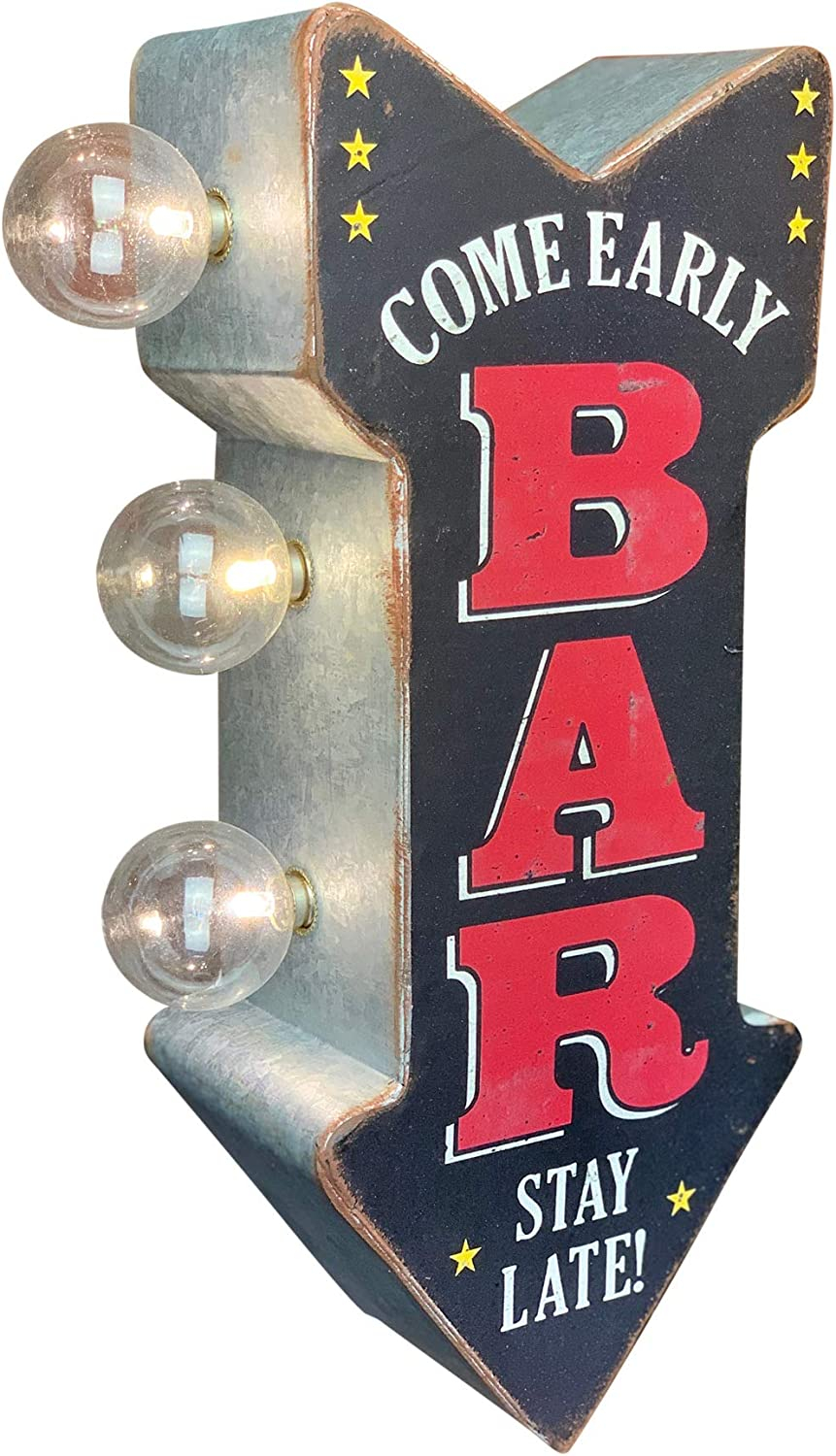 "BAR Double Sided LED Sign, Come Early Stay Late, Arrow Shaped, 12"" Distressed Retro Vintage Metal Design, Battery Powered with Large Marquee Style Light Bulbs"