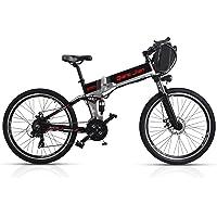 SHARMA NIA M80 Bicicleta Plegable DE 21 velocidades 48V * 350W Suspensión Doble de Bicicleta eléctrica de montaña DE 26 Pulgadas con Pantalla LED 5 Pedales de Asistencia