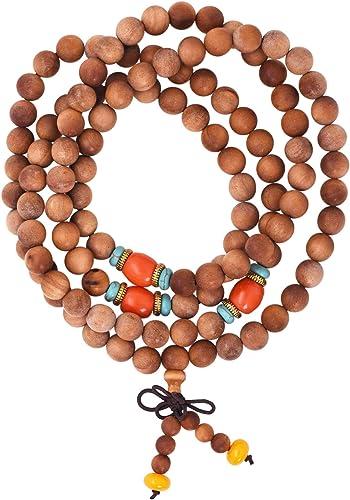 Mandala Crafts 108 Mala Prayer Beads Necklace, Bracelet from Natural Wood for Meditation, Yoga