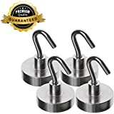 AIDOUT Magnetic Hooks-Strong Powerful and Heavy Duty-4 Pack Hanging Hooks - 40 LB & 80 LB Industrial Grade Multi-purpose Neodymium Hanging Hooks Great for Your Refrigerator and Other Magnetic Surfaces