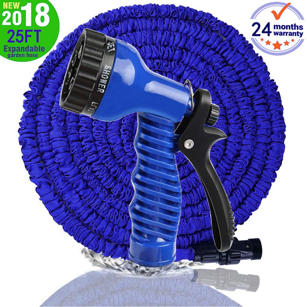 MTNZXZ Garden Hose, Newest 25 FT Expandable Heavy Double Latex Flexible Hose - 7-Pattern High Pressure Water Spray Nozzle. Suitable for Wash Cars, Clean Walls, Watering Lawns and Plants, etc.