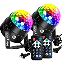 Nequare Disco Lights Sound Activated Strobe Light Disco Ball Dj Lights Party Lights Xmas 7colors Disco light Disco Party Lights Show for Christmas Parties DJ Karaoke Wedding Outdoor with Remote (2 pack)