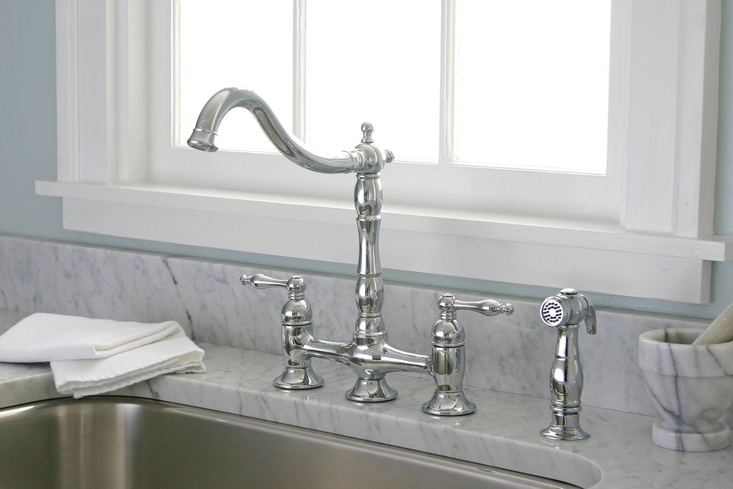 Nice Premier 120344LF Charlestown Lead Free Two Handle Bridge Kitchen Faucet  With Matching Spray, Chrome   Touch On Kitchen Sink Faucets   Amazon.com