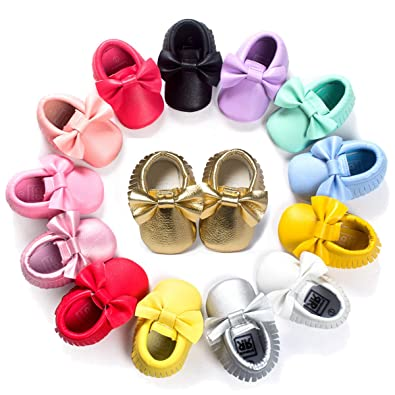aaea7c6322 Baby Infant Shoes Girls, Soft Sole Tassel Bowknot Moccasins,Toddler First  Walker Crib Shoes